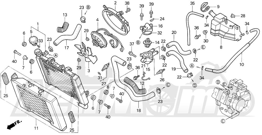 Запчасти для Мотоцикла Honda 1996 VF750C Раздел: RADIATOR | радиатор