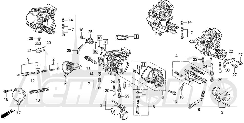 Запчасти для Мотоцикла Honda 1996 VF750C Раздел: CARBURETOR COMPONENTS   карбюратор компоненты