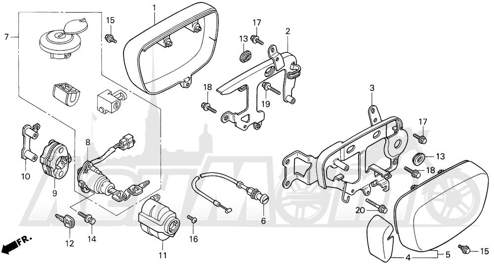 Запчасти для Мотоцикла Honda 1996 VF750C Раздел: CARBURETOR SIDE COVER   карбюратор боковая сторона крышка