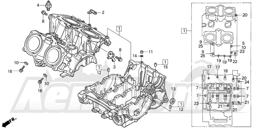 Запчасти для Мотоцикла Honda 1996 VF750C Раздел: CRANKCASE   картер