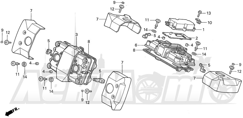 Запчасти для Мотоцикла Honda 1996 VF750C Раздел: CYLINDER HEAD COVER | головка цилиндра крышка