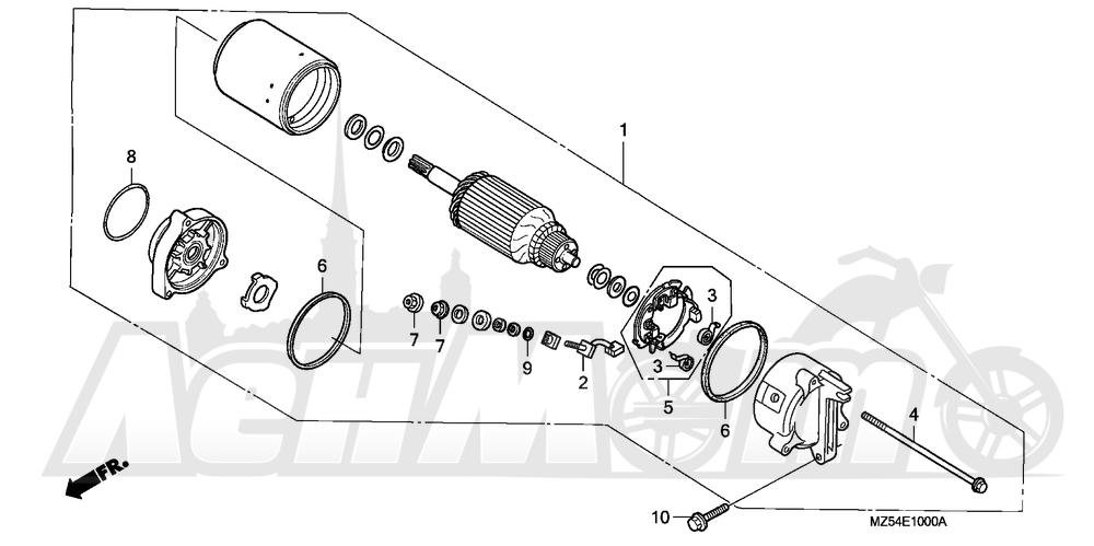 Запчасти для Мотоцикла Honda 1996 VF750C Раздел: STARTING MOTOR | электростартер