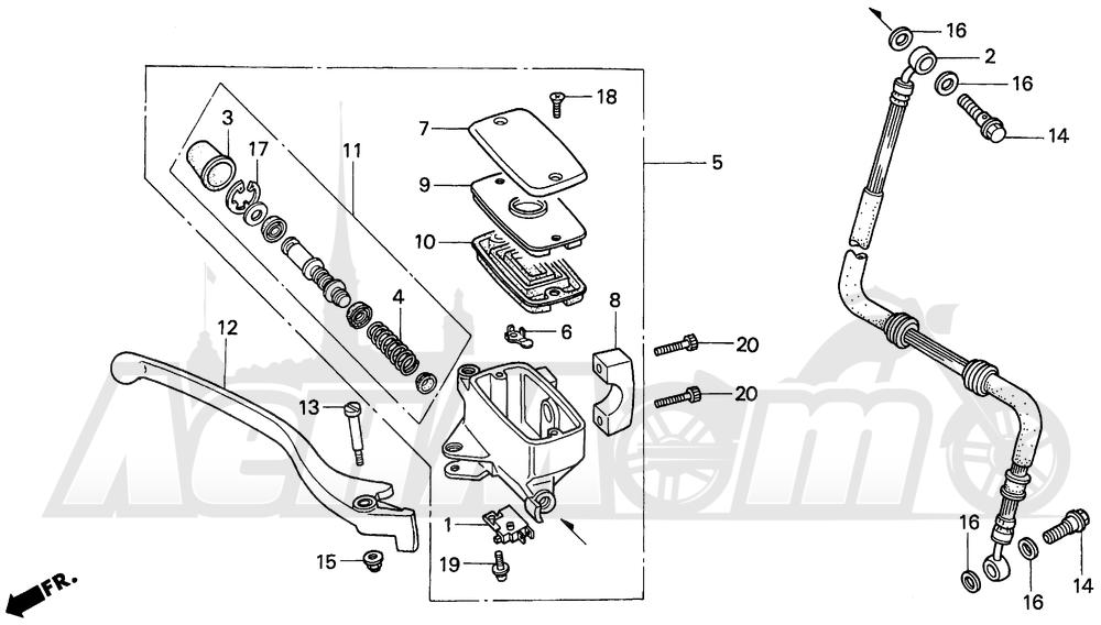 Запчасти для Мотоцикла Honda 1996 VF750C Раздел: FRONT BRAKE MASTER CYLINDER | передний тормоз главный цилиндр