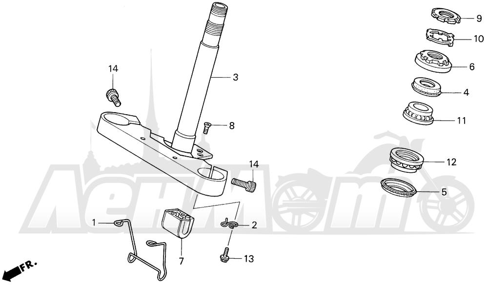 Запчасти для Мотоцикла Honda 1996 VF750C Раздел: STEERING STEM | рулевое управление стойка