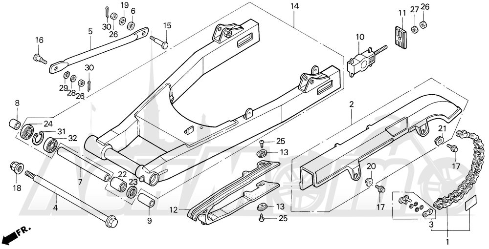 Запчасти для Мотоцикла Honda 1996 VF750C Раздел: SWINGARM AND DRIVE CHAIN   маятник и привод цепь
