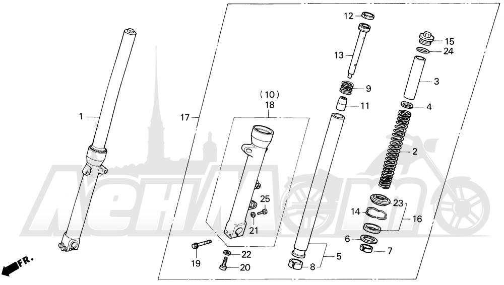 Запчасти для Мотоцикла Honda 1996 VF750C Раздел: FRONT FORK | передняя вилка