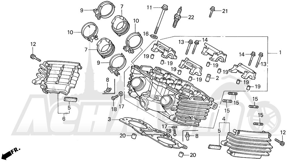 Запчасти для Мотоцикла Honda 1996 VF750CD Раздел: REAR CYLINDER HEAD   зад головка цилиндра