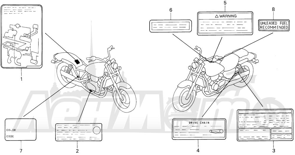 Запчасти для Мотоцикла Honda 1996 VF750CD Раздел: CAUTION LABEL | предупреждение этикетка, метка