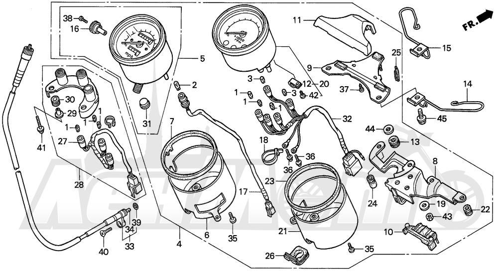 Запчасти для Мотоцикла Honda 1996 VF750CD Раздел: SPEEDOMETER TACHOMETER | спидометр тахометр