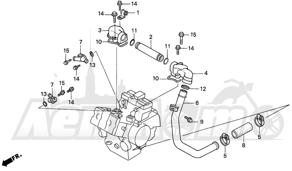 Запчасти для Мотоцикла Honda 1996 VF750CD Раздел: WATER PIPE   вода труба