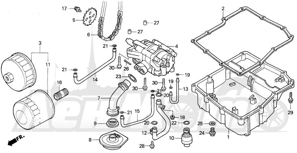 Запчасти для Мотоцикла Honda 1996 VFR750F Раздел: OIL PUMP 94-97 | маслянный насос 94 97