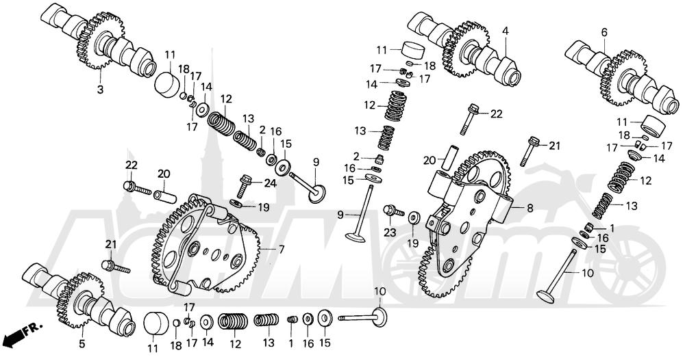 Запчасти для Мотоцикла Honda 1996 VFR750F Раздел: CAMSHAFT   распредвал