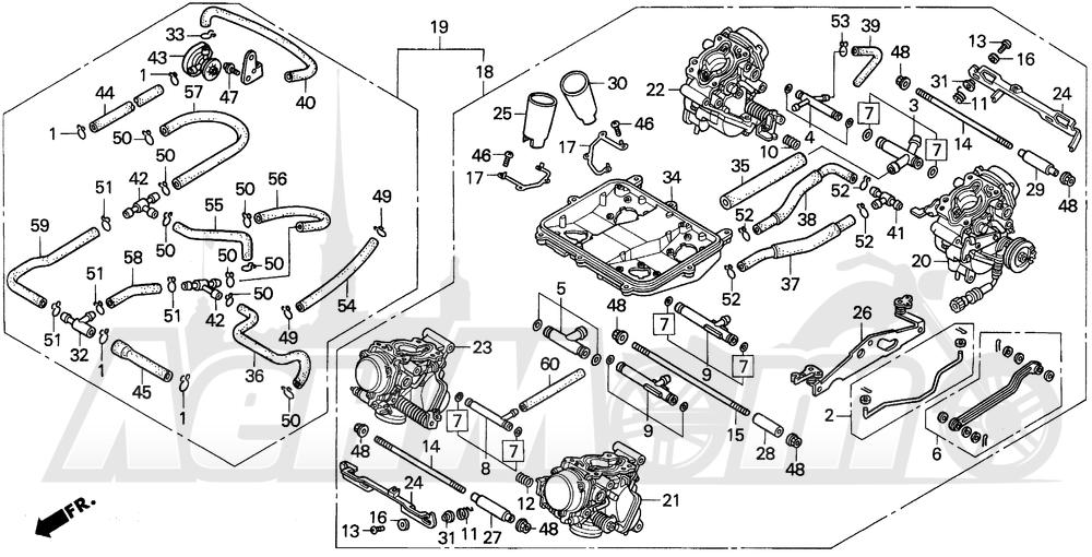 Запчасти для Мотоцикла Honda 1996 VFR750F Раздел: CARBURETOR ASSY. 94-97 | карбюратор в сборе. 94 97