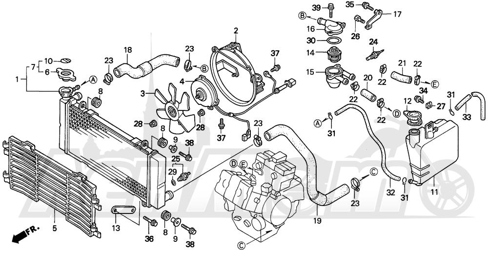 Запчасти для Мотоцикла Honda 1996 VFR750F Раздел: RADIATOR | радиатор