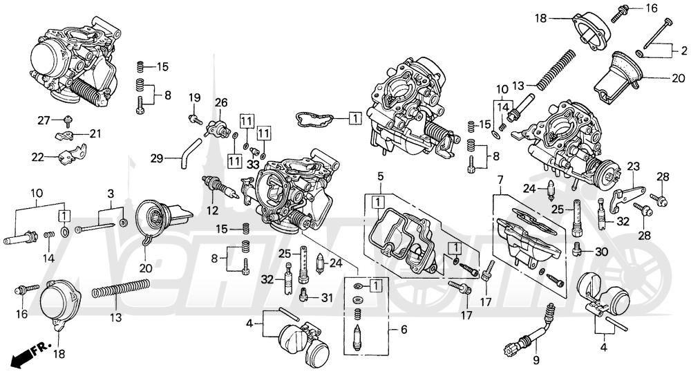 Запчасти для Мотоцикла Honda 1996 VFR750F Раздел: CARBURETOR COMP. 94-97   карбюратор в сборе. 94 97