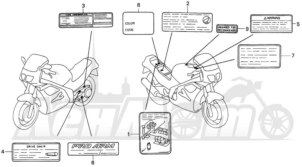 Запчасти для Мотоцикла Honda 1996 VFR750F Раздел: CAUTION LABEL 94-97 | предупреждение этикетка, метка 94 97