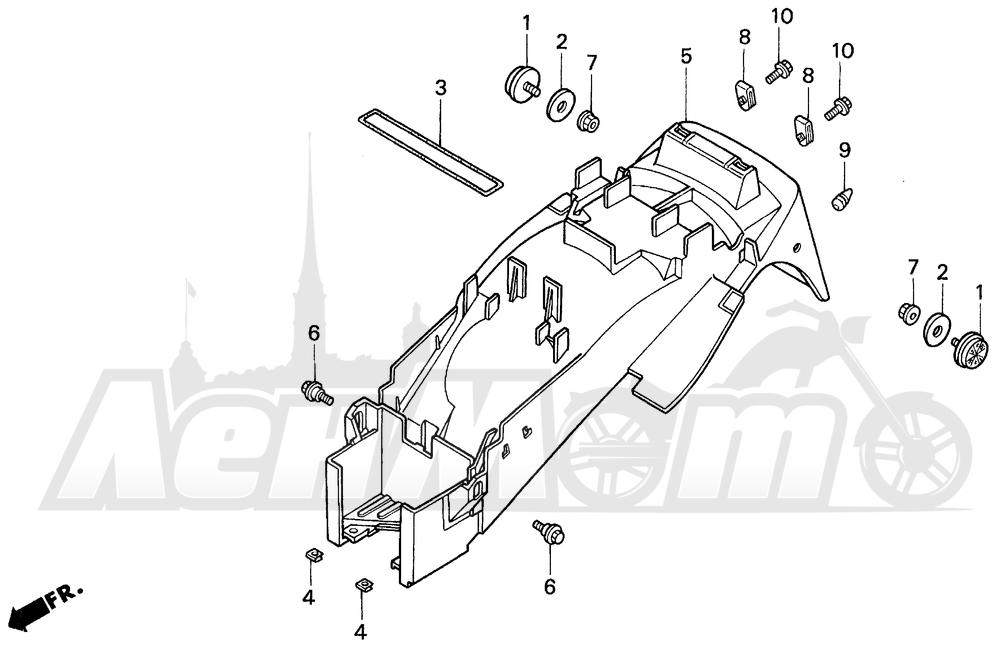 Запчасти для Мотоцикла Honda 1996 VFR750F Раздел: REAR FENDER 94-97 | заднее крыло 94 97