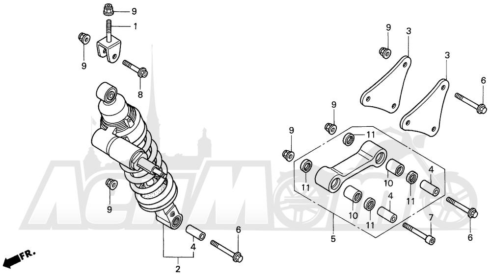 Запчасти для Мотоцикла Honda 1996 VFR750F Раздел: REAR SHOCK ABSORBER 94-97 | зад амортизатор 94 97