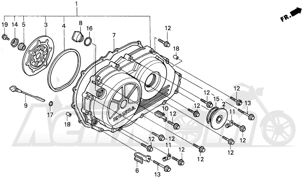 Запчасти для Мотоцикла Honda 1996 VFR750F Раздел: RIGHT CRANKCASE COVER   правая сторона крышка картера