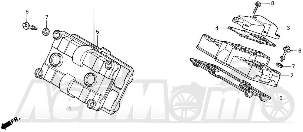 Запчасти для Мотоцикла Honda 1996 VFR750F Раздел: CYLINDER HEAD COVER | головка цилиндра крышка