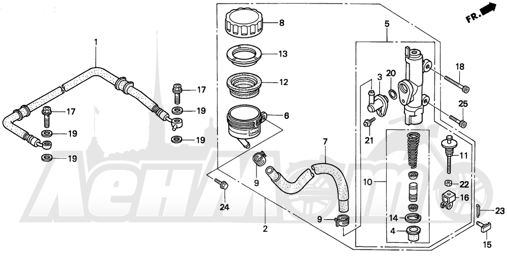 Запчасти для Мотоцикла Honda 1996 VFR750F Раздел: RR. BRAKE MASTER CYL. 94-96 | зад. тормоза MASTER CYL. 94 96