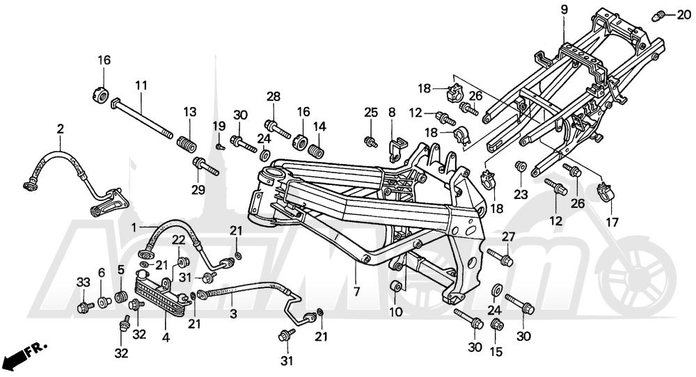 Запчасти для Мотоцикла Honda 1996 VFR750F Раздел: FRAME 94-97 | рама 94 97