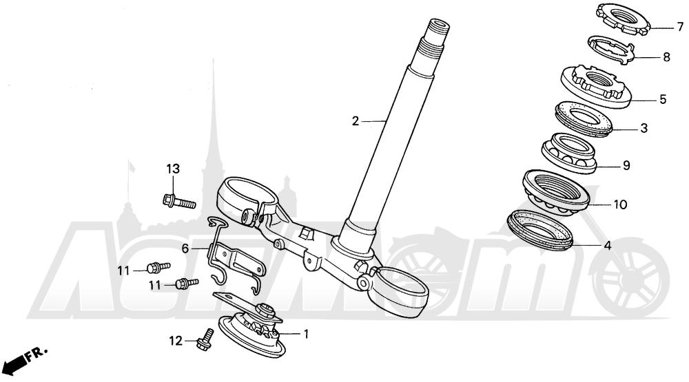 Запчасти для Мотоцикла Honda 1996 VFR750F Раздел: STEERING STEM | рулевое управление стойка