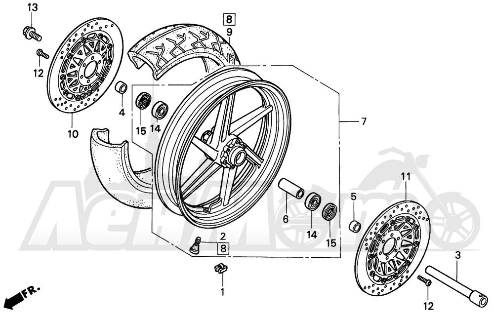 Запчасти для Мотоцикла Honda 1996 VFR750F Раздел: FRONT WHEEL 94-97 | переднее колесо 94 97