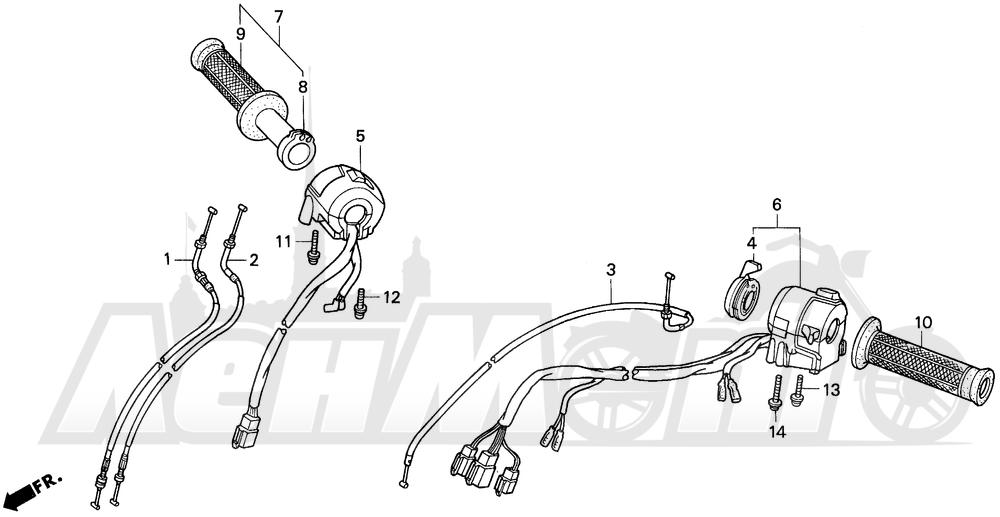 Запчасти для Мотоцикла Honda 1996 VFR750F Раздел: SWITCHES AND CABLES | выключатели, переключатели и тросики, кабели