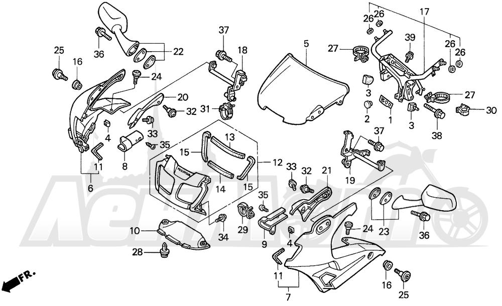 Запчасти для Мотоцикла Honda 1996 VFR750F Раздел: UPPER COWL 94-97 | верхний обтекатель 94 97