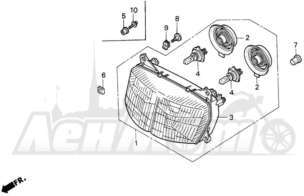 Запчасти для Мотоцикла Honda 1996 VFR750F Раздел: HEADLIGHT   передняя фара