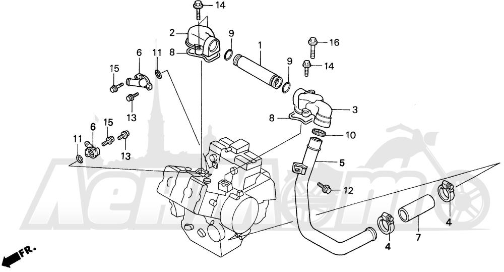 Запчасти для Мотоцикла Honda 1996 VFR750F Раздел: WATER PIPE | вода труба