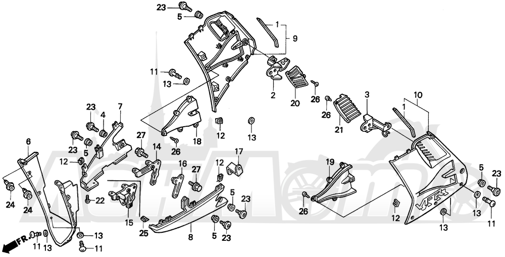 Запчасти для Мотоцикла Honda 1996 VFR750F Раздел: LOWER COWL 94-97 | нижний обтекатель 94 97