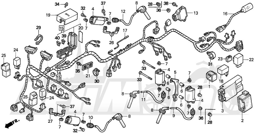 Запчасти для Мотоцикла Honda 1996 VFR750F Раздел: WIRE HARNESS 94-97 | жгут проводов 94 97