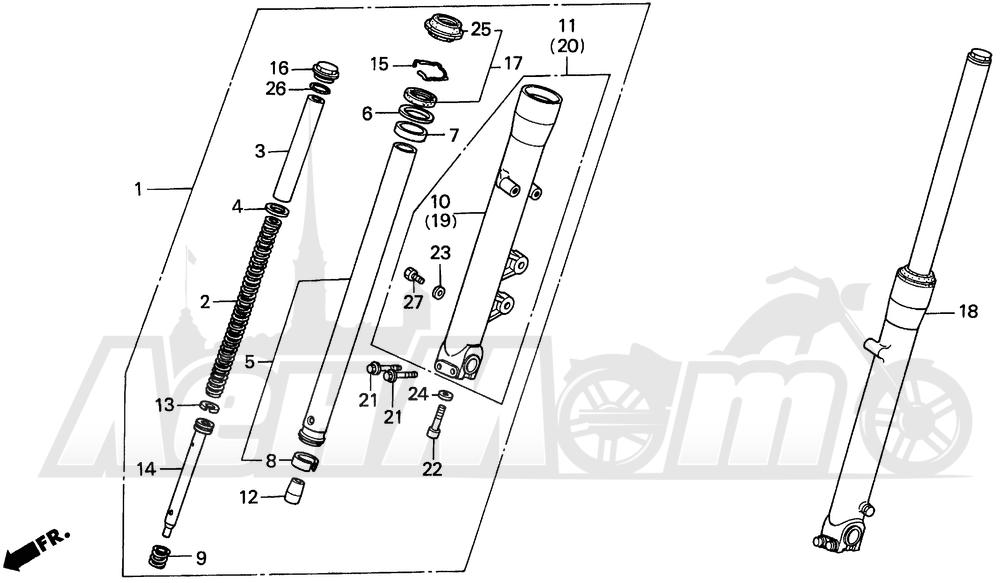 Запчасти для Мотоцикла Honda 1996 VT1100C Раздел: VT1100C FRONT FORK | VT1100C передняя вилка