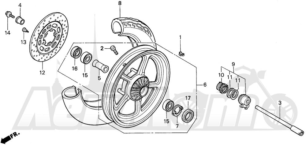 Запчасти для Мотоцикла Honda 1996 VT1100C Раздел: VT1100C FRONT WHEEL   VT1100C переднее колесо
