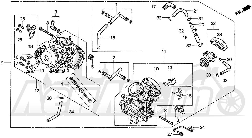 Запчасти для Мотоцикла Honda 1996 VT1100C Раздел: CARBURETOR ASSY. | карбюратор в сборе.