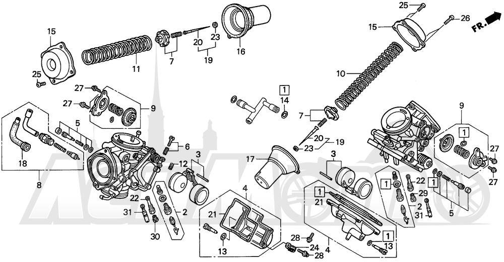 Запчасти для Мотоцикла Honda 1996 VT1100C Раздел: CARBURETOR COMPONENT | карбюратор COMPONENT