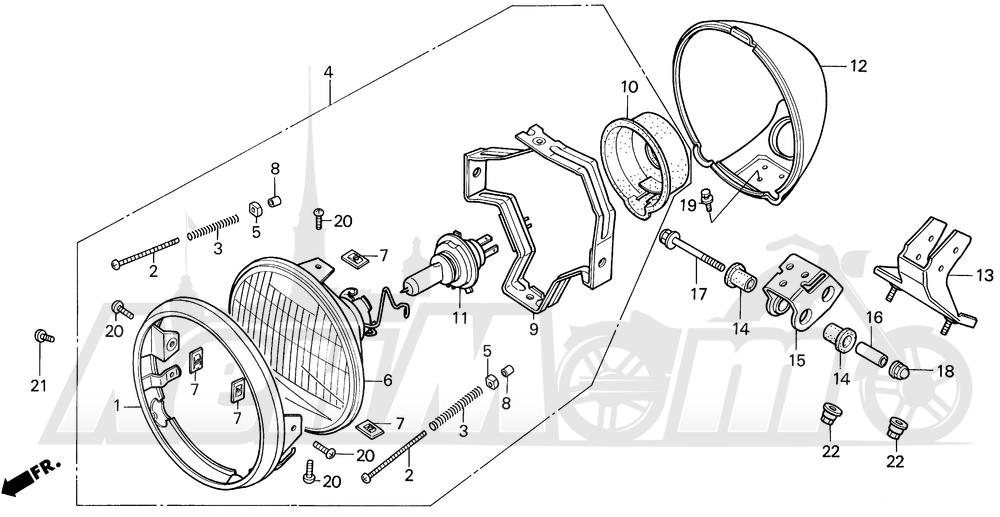 Запчасти для Мотоцикла Honda 1996 VT1100C Раздел: VT1100C HEADLIGHT 95-96   VT1100C передняя фара 95 96