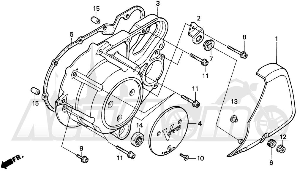 Запчасти для Мотоцикла Honda 1996 VT1100C Раздел: VT1100C LEFT CRANKCASE COVER 95-96 | VT1100C левая сторона крышка картера 95 96