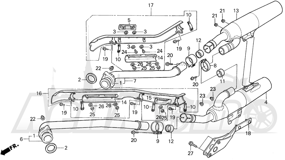 Запчасти для Мотоцикла Honda 1996 VT1100C Раздел: VT1100C MUFFLER 95-96 | VT1100C глушитель 95 96