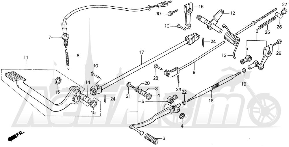 Запчасти для Мотоцикла Honda 1996 VT1100C Раздел: VT1100C PEDAL 95-96   VT1100C педаль 95 96