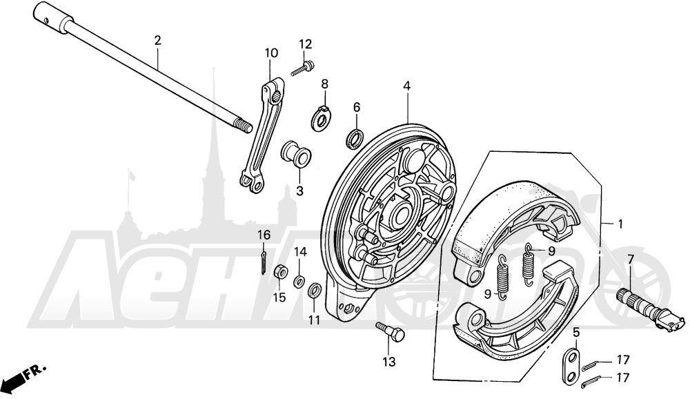 Запчасти для Мотоцикла Honda 1996 VT1100C Раздел: VT1100C REAR BRAKE PANEL | VT1100C задний тормоз панель
