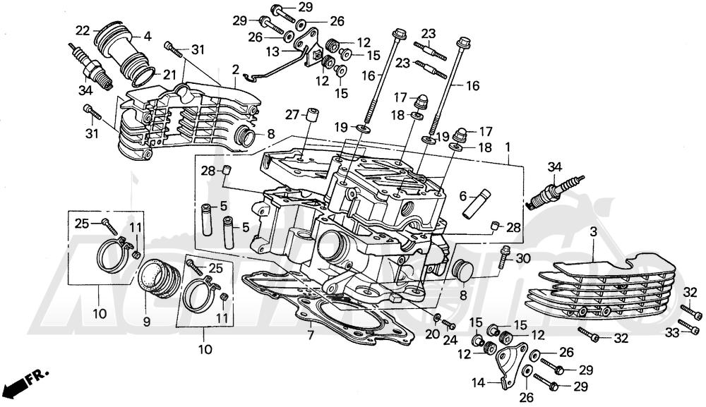 Запчасти для Мотоцикла Honda 1996 VT1100C Раздел: VT1100C REAR CYLINDER HEAD | VT1100C зад головка цилиндра