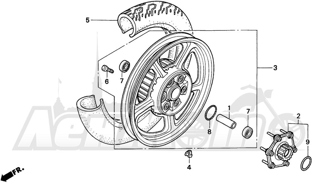Запчасти для Мотоцикла Honda 1996 VT1100C Раздел: VT1100C REAR WHEEL | VT1100C заднее колесо