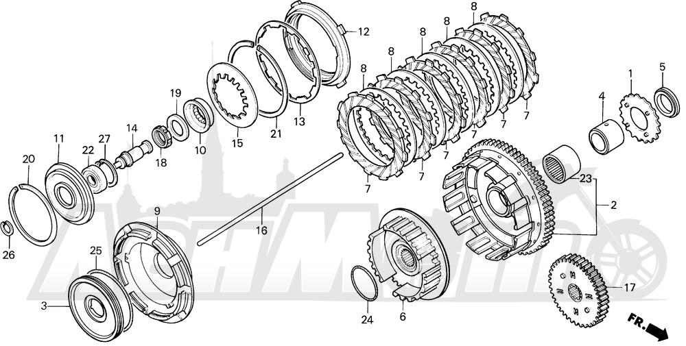 Запчасти для Мотоцикла Honda 1996 VT1100C Раздел: VT1100C CLUTCH | VT1100C сцепление