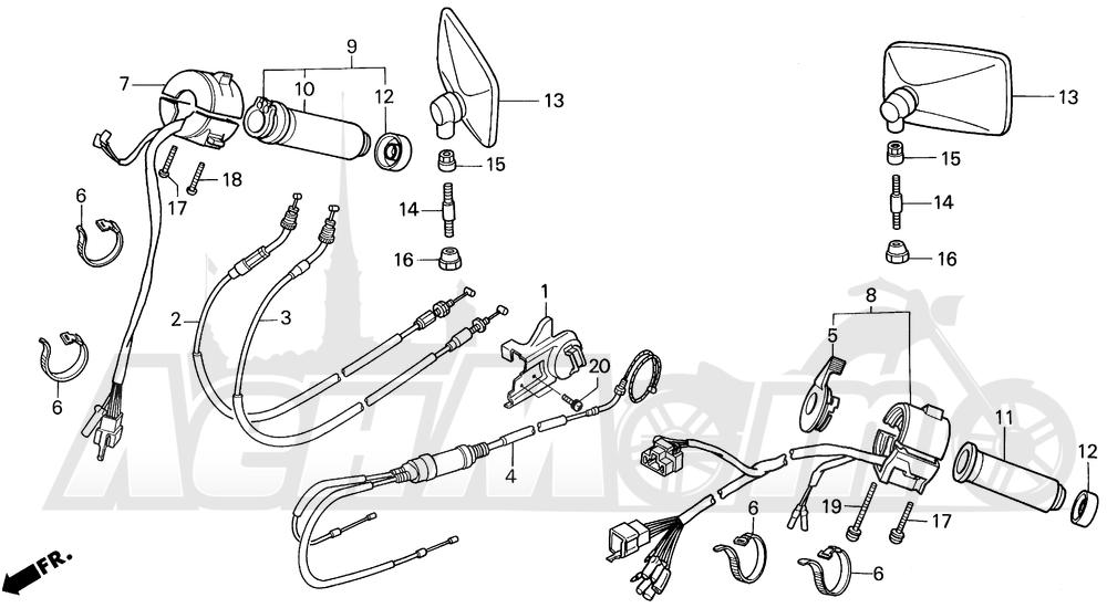 Запчасти для Мотоцикла Honda 1996 VT1100C Раздел: VT1100C SWITCHES AND CABLES AND MIRRORS 95-96   VT1100C выключатели, переключатели и тросики, кабели и зеркала 95 96