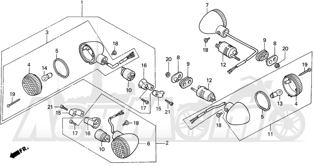 Запчасти для Мотоцикла Honda 1996 VT1100C Раздел: VT1100C TURN SIGNAL 95-96   VT1100C сигнал поворота 95 96
