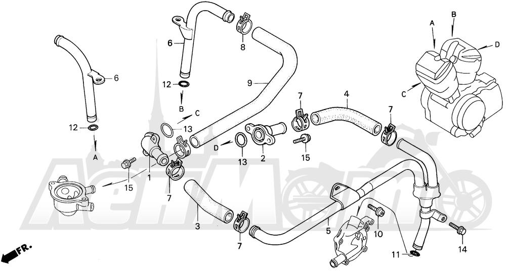 Запчасти для Мотоцикла Honda 1996 VT1100C Раздел: VT1100C WATER PIPE | VT1100C вода труба