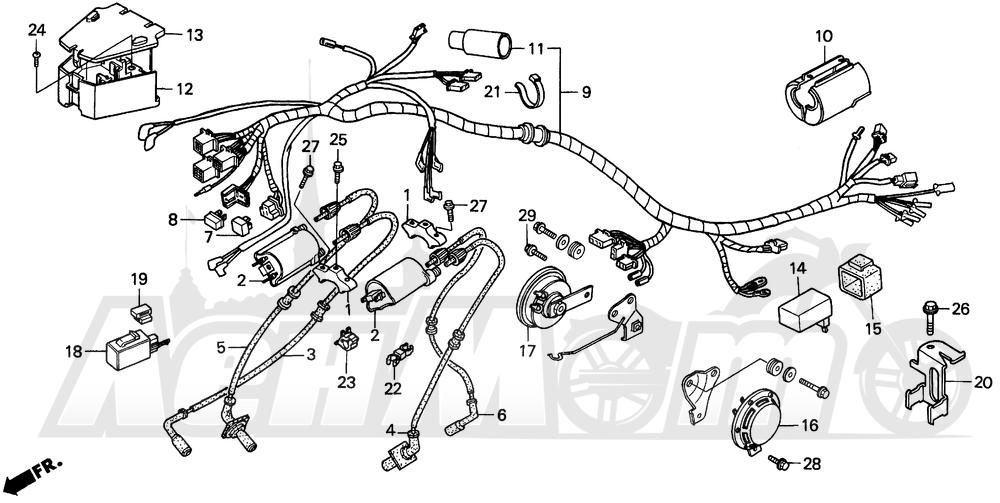 Запчасти для Мотоцикла Honda 1996 VT1100C Раздел: VT1100C WIRE HARNESS | VT1100C жгут проводов